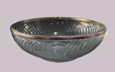 Fruit bowl in baccarat glass with silver rim