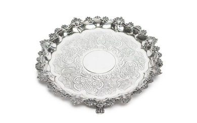 GEORGE III SILVER FOOTED SALVER, 1992g