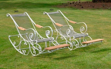 Garden seats: A wrought iron and mesh rocking chair