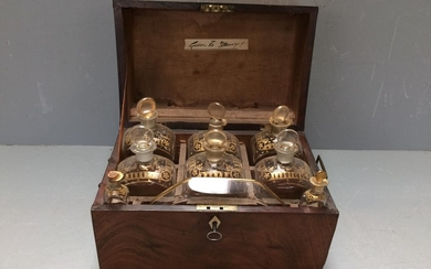 George III Cuban mahogany ladies gilded fitted decanter box