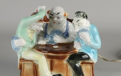 German porcelain smoke dispeller, card players.