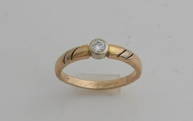 Gold ring, 585/000, with diamond. Ring with a