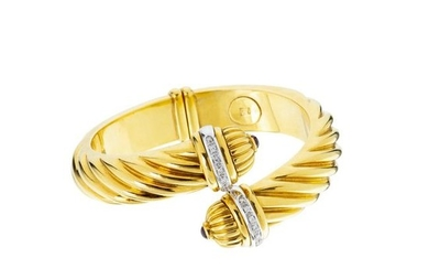 Gold torque bracelet with diamonds and rubies