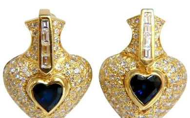 Heart Natural Sapphire Clip Earrings 7.00 Carat Raised