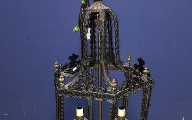 Highly decorative hexagonal early C20th hanging lantern with...