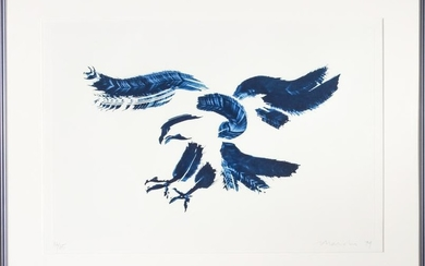 "Illegibly Signed ""Eagle"" Tusche Lithograph"