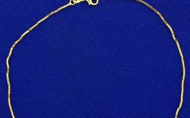 Italian Made Box Link Chain Anklet in 14K Yellow Gold