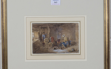 John Frederick Tayler - 'Cottage Interior with Figures', late 19th century watercolour, si
