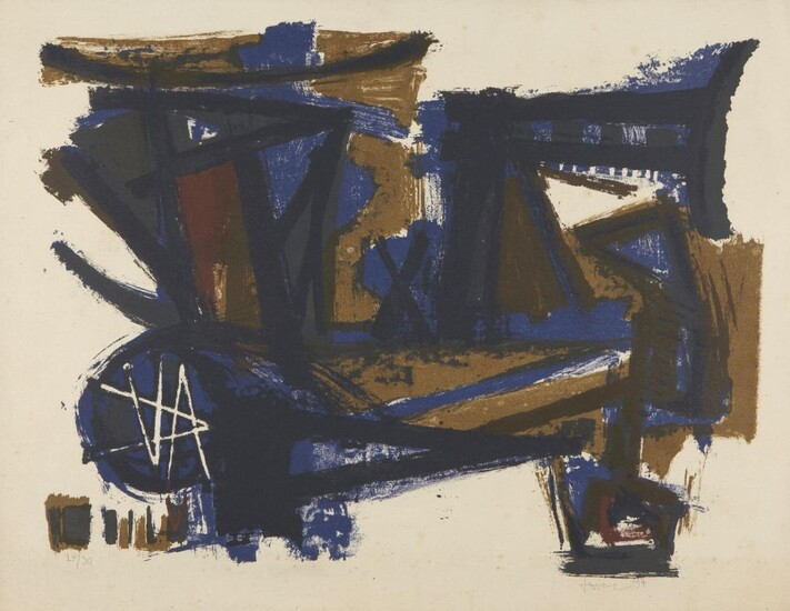 John Levee, American 1924-2017- Untitled, 1954; lithograph...