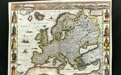 John Speed (1522-1629) Europe, and the chief cities, 1626; Copper...