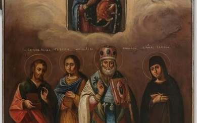 LARGE RUSSIAN ICON MOTHER OF GOD & SAINTS DATED 1