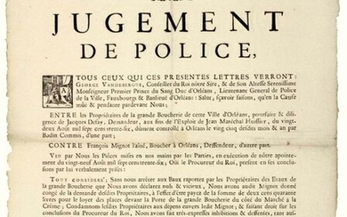 """LOIRET. 1737. THE GREAT BUTCHER'S SHOP OF ORLEANS (45). """"Police Judgment, between the Owners of the Grande Boucherie d'Orléans, against François MIGNOT the elder, butcher in Orléans - Defense to the Owners of the Vices of the Grande BOUCHERIE joining..."""