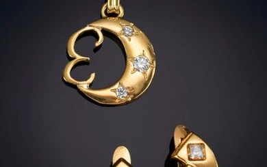 LOT OF EARRINGS AND PENDANT IN 18K YELLOW GOLD. Price: 90,00 Euros. (14.975 Ptas.)