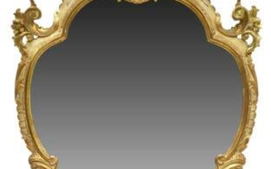 LOUIS XV STYLE PARCEL GILT & PAINTED WALL MIRROR