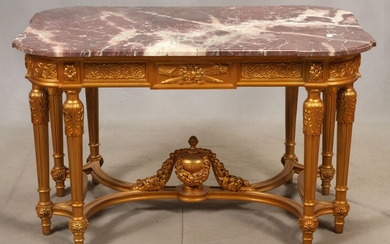 """LOUIS XVI STYLE, CARVED GILTWOOD AND MARBLE TOP TABLE, H 30"""", W 50"""", D 30"""""""