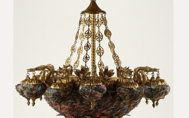 Large French Style Dore Bronze and Colored Glass Thirty