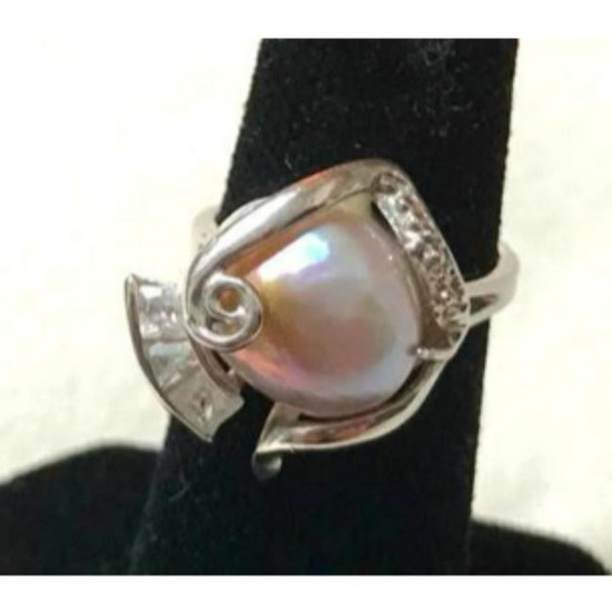 Lavender Freshwater Pearl Silver Plated Cocktail Ring