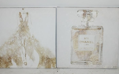 Lot of 2 art canvases Chanel perfume & Dress