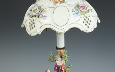 MEISSEN-STYLE GERMAN POLYCHROMED PORCELAIN FIGURAL TABLE LAMP. Orchard scene with...