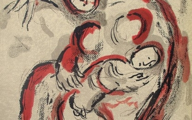 Marc Chagall: Hagar in the desert. Lithograph in colours. Verso with b/w lithograph. Unsigned and unnumbered. Sheet size 35.4×26.3 cm. Unframed.