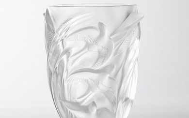 'Martinets', Lalique Moulded and Frosted Glass Vase