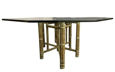 McGuire Mid-Century Modern Glass Top Dining Table