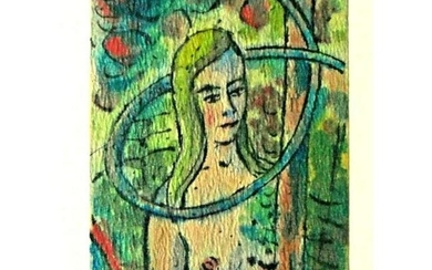 Mid Century Modern Mixed Media Painting, Nude, Garden