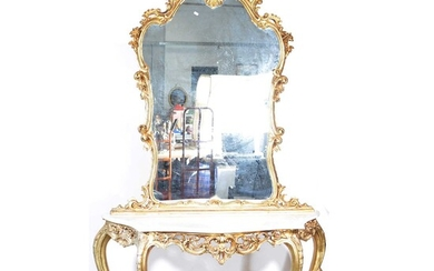 Modern French gilt console table and pier glass