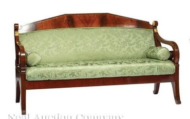 Neoclassical Parcel Gilt Mahogany Settee