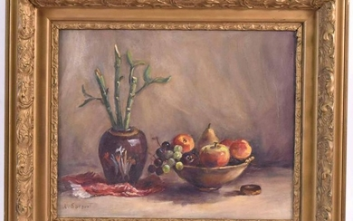 Oil on Canvas, Still Life of Fruit and Bamboo