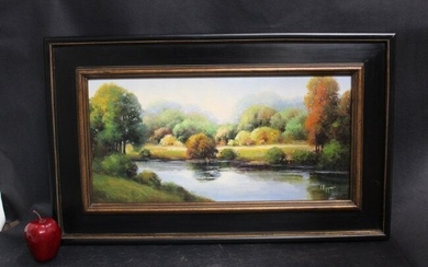 Oil on canvas Fall landscape with river