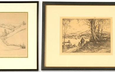 Oliver Wendell Schenk & K. Ely? Etchings