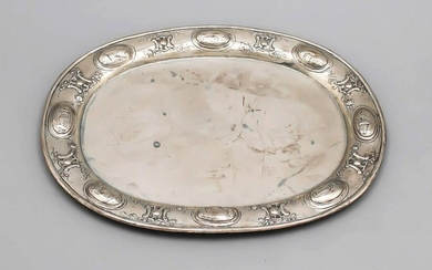 Oval tray, 19th century, silver tested, rim with relief