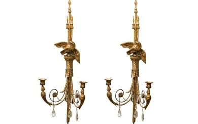 PAIR OF 18TH C TWO LIGHT WALL SCONCES