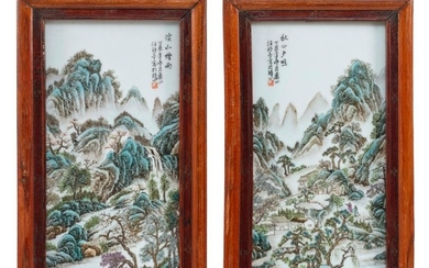 """PAIR OF FAMILLE VERTE PAINTED TILES Depicting a village in a mountain landscape. Calligraphy upper left and right. 17"""" x 8"""". Framed..."""