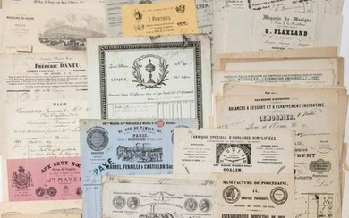 PARIS. COLLECTION OF 102 PARIS INVOICES from 1824...