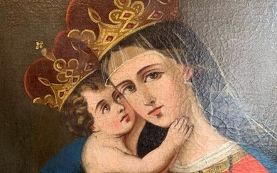 "Painting, ""Madonna with Child"" (1) - Oil on canvas - Mid 18th century"