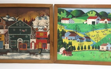 Pair American New England Folk Art Paintings