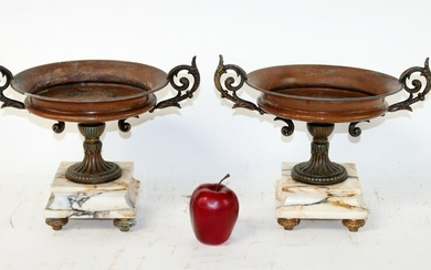 Pair French classical double handled footed urns