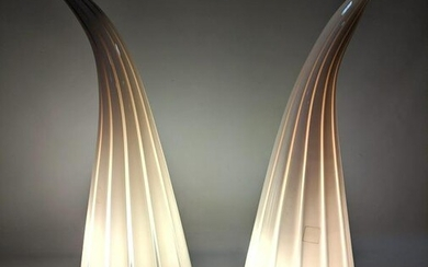 Pair MURANO Glass Table Lamps. Horn Form.