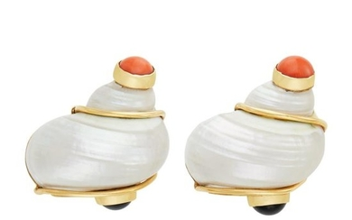 Pair of Gold, Shell, Coral and Black Onyx 'Turbo Shell' Earclips, Seaman Schepps