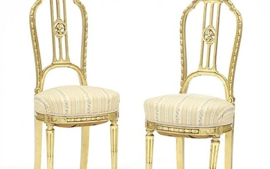 Pair of Louis XVI Style Gilt Ballroom Chairs