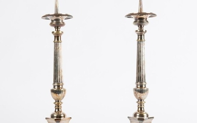 Pair of Silver-Plate Altar Candle Prickets