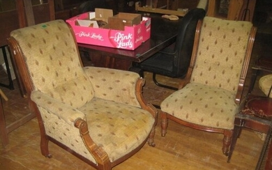 Pair of Victorian Upholstered Drawingroom Chairs