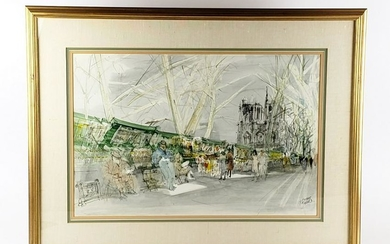 Pierre Pages Watercolor of Notredame Signed, C. 1940's