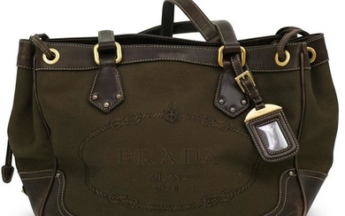 Prada Brown Nylon Logo Jacquard Bag
