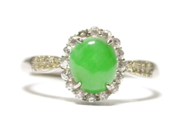 Ring - NO RESERVE PRICE - Natural Jadeite (Type A) - Certified - China - 21st century