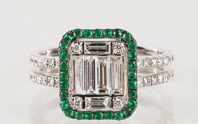 Ring with brilliant and emeralds