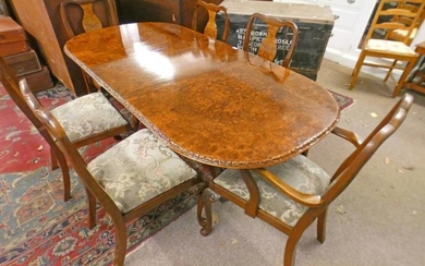 SET OF 6 WALNUT DINING CHAIRS & MATCHING TABLE,...