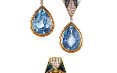SET OF BLUE TOPAZ AND DIAMOND JEWELRY